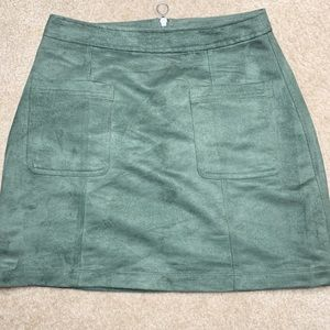 Old Navy olive green faux suede mini skirt